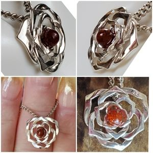 Jewelry - Genuine Baltic Amber Rose Pendant/Necklace